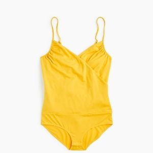 J. Crew Mustard Yellow Wrap Bodysuit NWT
